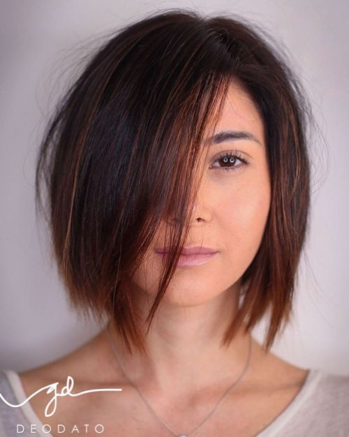 Warm Brown Bob with Jagged Ends