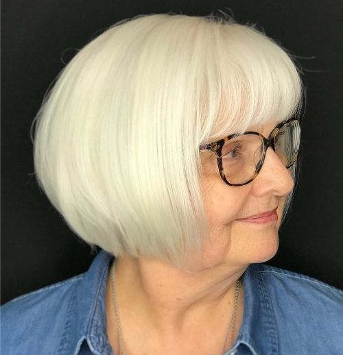 Silver Bob for Thick hair Over 50