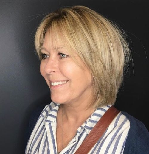 Medium Textured Bob for Over 50 with Round Face