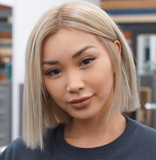 Chic Blunt Bob with Off Center Part