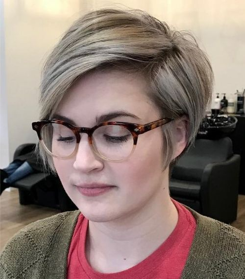 Tapered Pixie for a Round Face with Glasses
