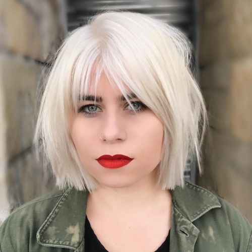 White Wispy Bob with Choppy Ends