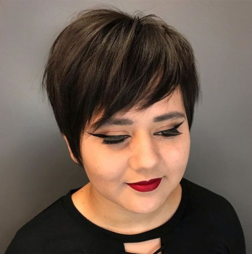 Feathered Pixie with Side Bangs for a Round Face