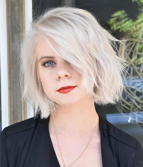 White Tousled Bob for a Round Face