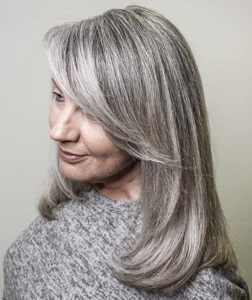 Over 50 Shoulder-Length Gray Hair with Long Bangs